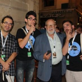 Francesc, Aitor Cruz y Tonet con Jaume Figueres